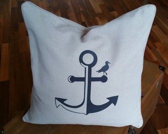 Cotton pillow with removable cover and Samtflock anchor with Seagull