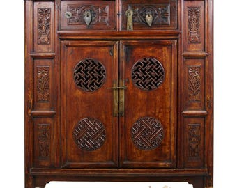 Antique, Chinese Open Carved Coffer/Armoire 25P14