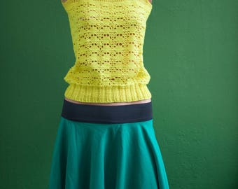 Knit mesh sleeveless yellow T36 (en) XS - vintage