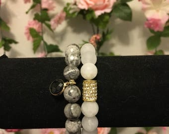 Clear and grey marble beaded bracelet set