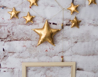 Metallic stars garland,  gold star banner, wedding garland, golden star bunting, twinkle little stars, gold wedding,gold birthday