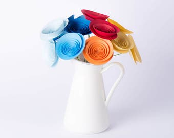 """Hand-made paper flowers - bouquet """"Hot and cold"""""""