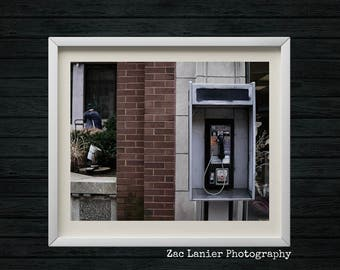 Vintage Public Telephone Photograph, Street Phone, Vintage Phone, Phone Booth, Architecture, Cityscape, Street Photography, Harrisburg