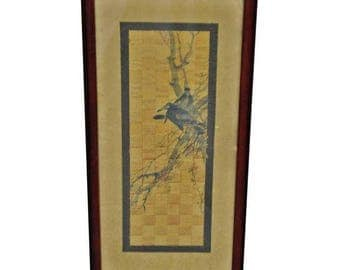Vintage Framed Matted Watercolor/Ink Art on Textured Woven Material