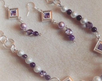 Eye- Catching Amethyst Necklace and Earring set