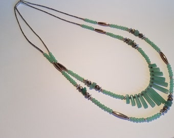 Green jade, silver 925 double strands necklace