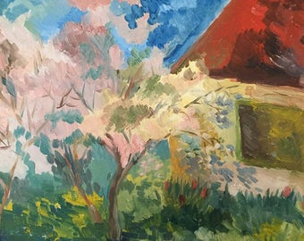 An old country house. Original oil painting on canvas. 50×40cm