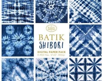 Batik Shibori Indigo Digital Papers | Indigo Shibori Navy Blue Dye Ethnic Pattern Texture Scrapbook Background Invitation Graphic Resource