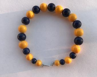 Yellow and Navy Blue Beaded Bracelet