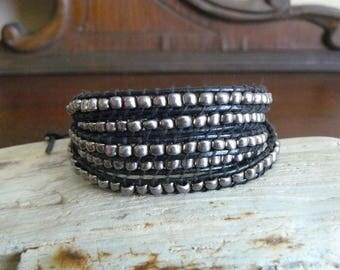GunMetal~Silver~Beaded Leather Wrap Bracelet~5 Wrap~Harley Davidson Inspired~Gothic Wrap~Rebal Chic Jewelry~Chan Luu Inspired~Handmade