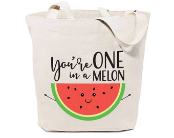 Cotton Canvas You're One in a Melon Reusable Grocery Bag and Farmers Market Tote Bag, Food Pun, Funny, Cute Women's Gift, Valentine's Day