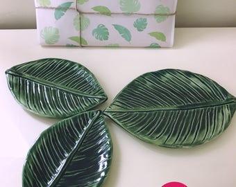 Set of 3 - Leaf Ceramic Plates, Handmade Tapas Plates, Green Dish, Home Decor, Gift, Appetizer Plates,Jewellery tray