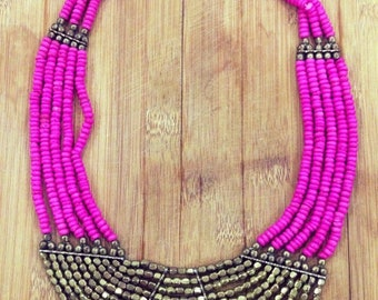 Statement Necklace, Pink , Fuschia , Beaded Jewelry, Gold Necklace