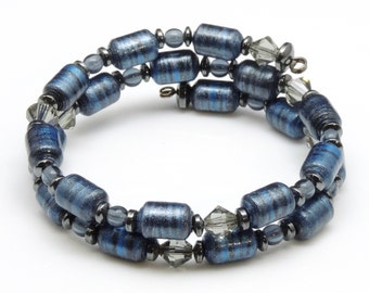 Gray Clouds in the Sky (Upcylced Paper Bead Bracelet/HP0063)