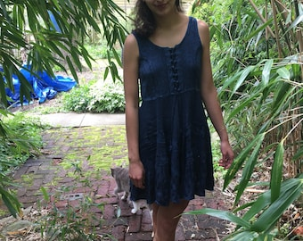 Indigo Woven Embellished Dress with Straps