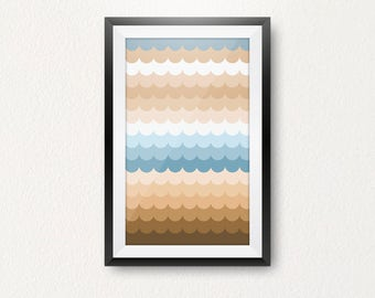 Abstract Waves Modern Art Print, A2 Poster Large Size, Contemporary Printable Artwork, Light Blue Creamy Beige Art Trendy Nursery Home Decor