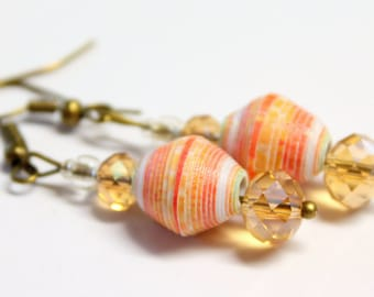 Recycled paper bead earrings