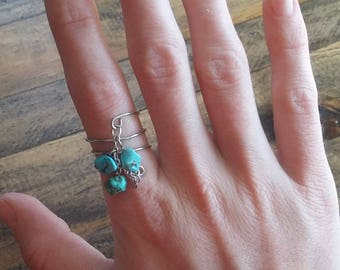 Silver Spiral Turquoise Chain Ring