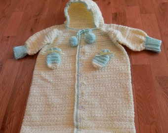 baby bunting bag and mittens