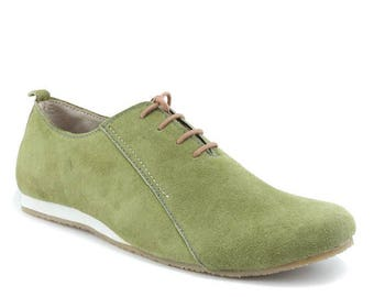 Men Handmade  Oxford  in Leather and Olive  Mustard Suede - Shoe