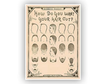 Barber Shop Poster, How Do You Want Your Hair? Vintage Style Print, Great Art for a Hairstylist Or Cosmetologist