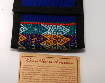 Manta Trifold Wallet Cotton/Velcro From Peru New Old Stock  -  D
