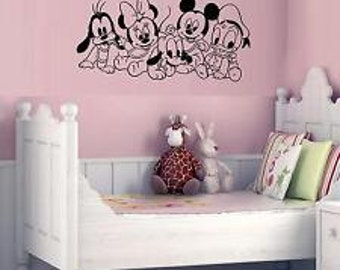 Baby Disney characters mickey Minnie Pluto Donald nursery bedroom wall sticker