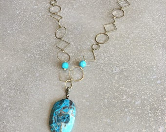 Turquoise necklace, gold chain necklace, statement necklace,pendant necklace