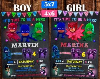 Pj Masks invitation, Pj Masks Birthday Party, Pj Masks Printable, PJ Masks Birthday Invitation, Birthday Pj Mask, Personalized, Printable.