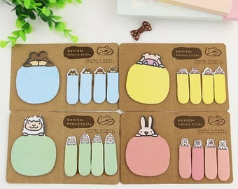 Cute Kawaii Animal Sticky Notes & Page Markers