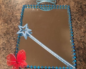 Mirror- Princess Crown and Wand with Plastic Dress Up Beads- Blue