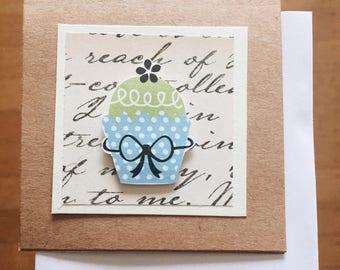 mini pop-up cupcake cards (blank) - Set of 3 assorted handmade cards