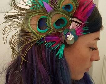 Feather hair piece clip