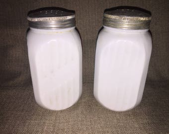 1950s milk glass salt and pepper shakers