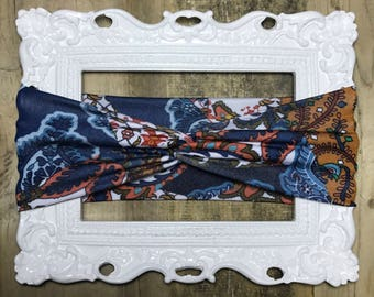 Navy and Brown Paisley Handmade Twist Turban Headband