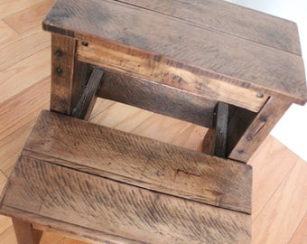 Reclaimed Rustic Wood Kids Step Stool
