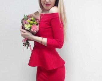 Red  Top and Skirt, Skirt with Crop Top, Peplum Tops, Red Peplum Top, Sleeve Peplum Top, Womens Peplum Tops, Peplum Tops Online