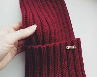 Hand made Knit Beanie Beanie Hat Womens Spring Hat Unisex Ski Hat Mens Wool Hat Womens Hat Burgundy Hat Merino hat merino beanie Maroon