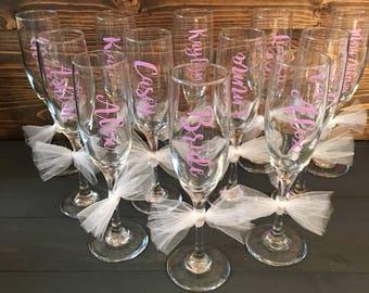 Bridesmaid Personalized Champagne Glasses, Bridesmaid Gift, Champagne Glass, Wedding Day, Customized Glass, Personalized Champagne Flute