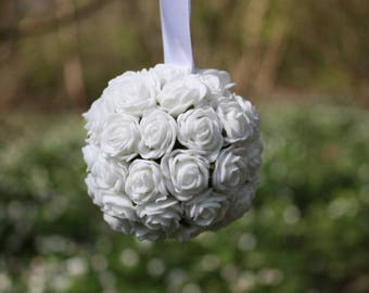 White flower ball, Flower decoration, Wedding decoration, Wedding pomander, Hanging decoration, Baby shower decoration, Foam flowers, 7cm