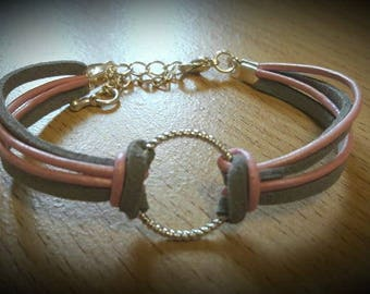Pink, Silver, Leather and microfibre suede wrap circle bracelet