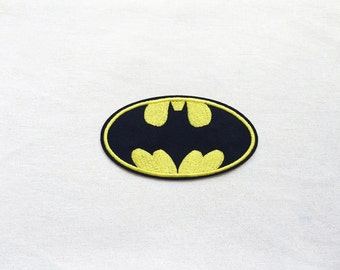 1x Batman patch - Black & Yellow Super hero sign blazon  - Iron On Embroidered Applique