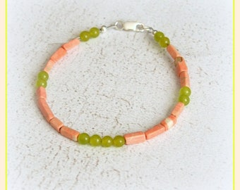 Coral bracelet pink green Korean jade and sterling silver chic closing gift minimalist gems