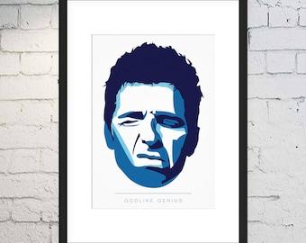 Noel Gallagher Print / Godlike Genius Art / Music Print / Framed or Unframed / Vector Art / Oasis Print / High Flying Birds