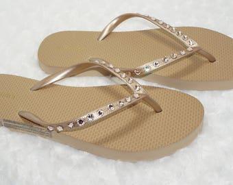 Gold Flip Flops with Swarovski Crystals