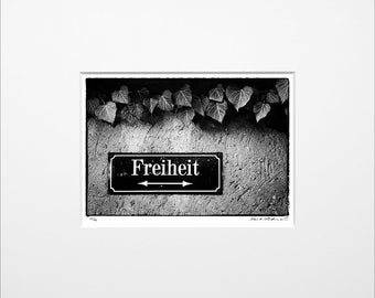 Danilo Böhme 'Freedom', black and white photography, fine art print in the mat, original, vintage print, Limited Edition autographed