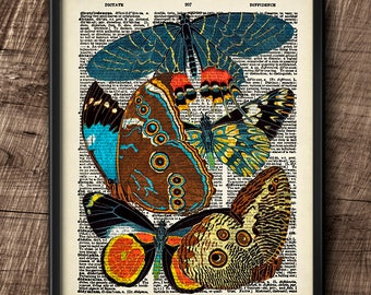 Butterflies · Instant Download · Dictionary · Colorful · Vintage · Wall · Printable · Digital File #101