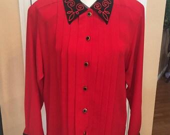 80's Vintage red blouse Leslie Fay