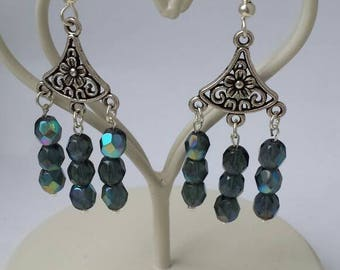 Irridescent Blue/Green Bead drop earrings