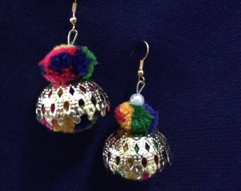 Multicolored Pompon Ear rings